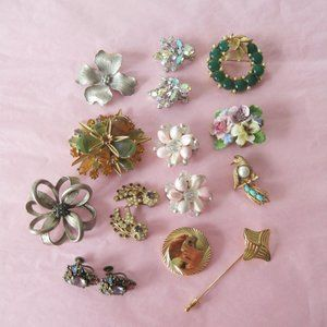 Lot of Vintage Signed Costume Jewelry 12 pieces